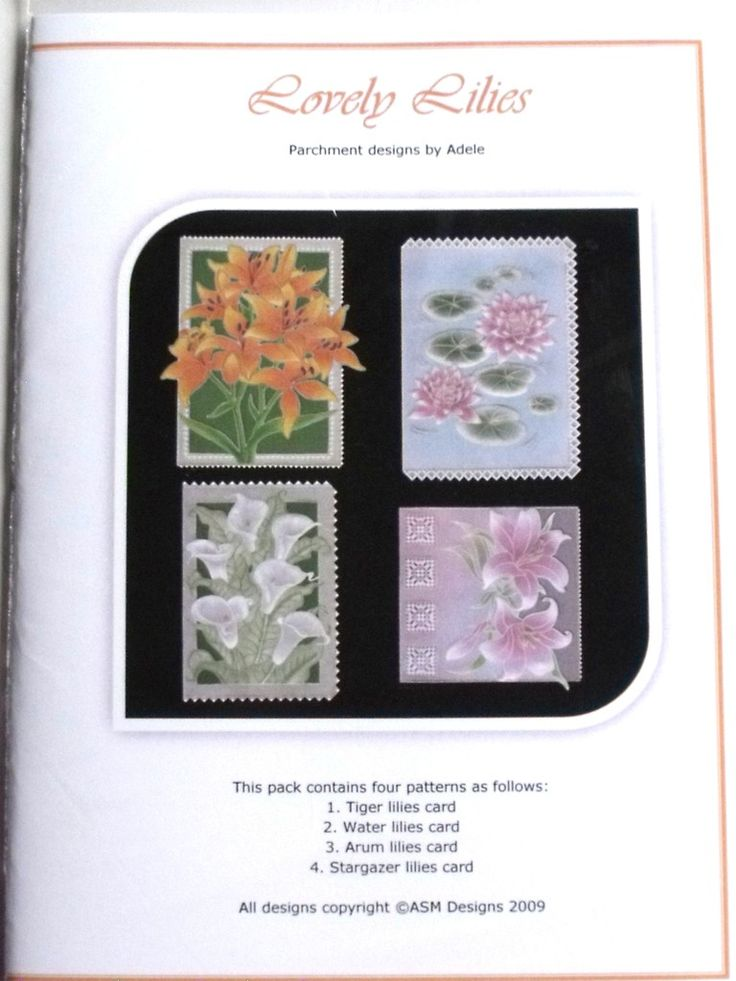 LOVELY LILIES BY ADELE  Four beautiful card designs of Lilies: Tiger Lilies, Arum Lilies, Water Lilies and Stargazer Lilies. The patterns come with full colour illustrations, full size patterns and clear working instructions. All patterns in Adele's pattern packs are printed on high photo quality paper to ensure ease of use. Clear, concise instructions ensure that even new-comers to this fascinating craft can follow them with ease.