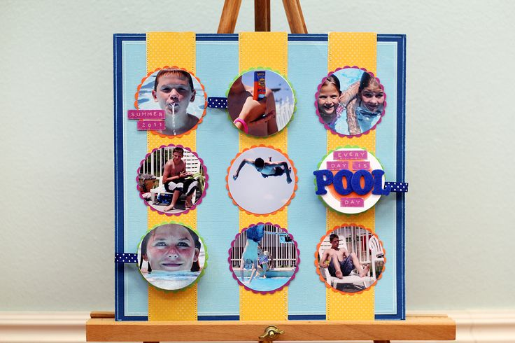 Easy multi-photo Summer fun layout featuring Core'dinations Cardstock by Shaunte Wadley