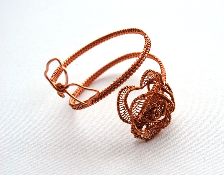 Delicate, Unique, OOAK, Statement Bracelet With Copper Rose by IacobJewelry on Etsy