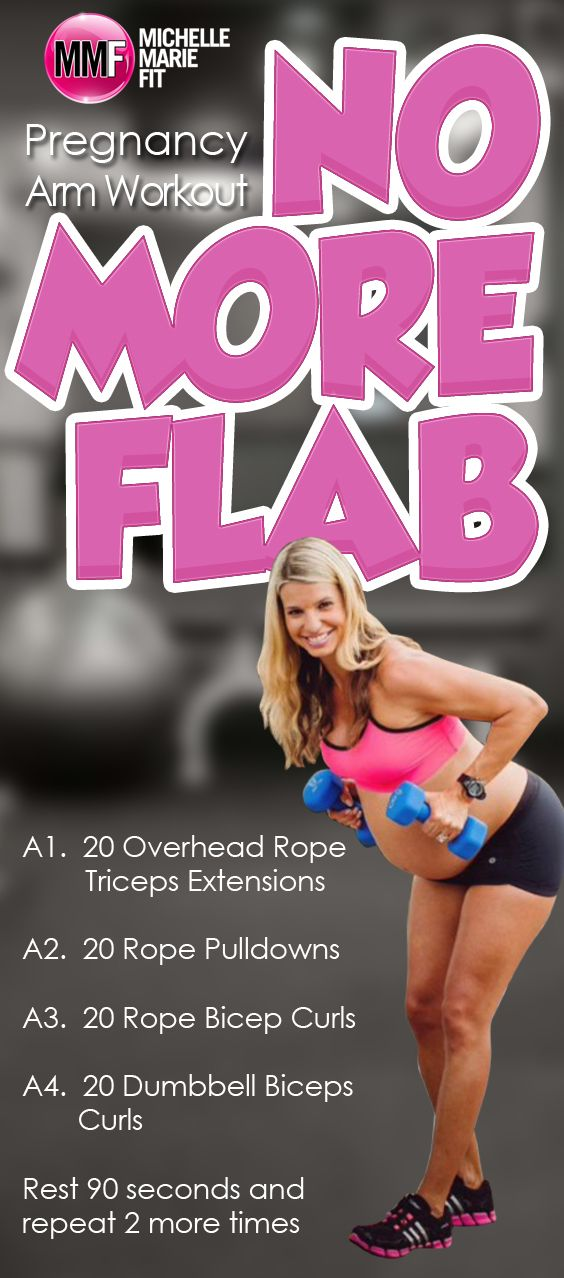 Pregnancy Arms Workout to prevent flabby arms during pregnancy.  Lots of pregnancy exercises you can do safely from home.  http://michellemariefit.com/pregnancy-arms-workout-no-more-flab/