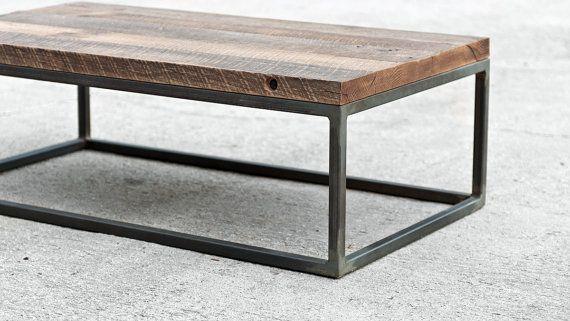 Industrial Hardwood Coffee Table - The Mason's Bench - Custom Furniture on Etsy, $950.00
