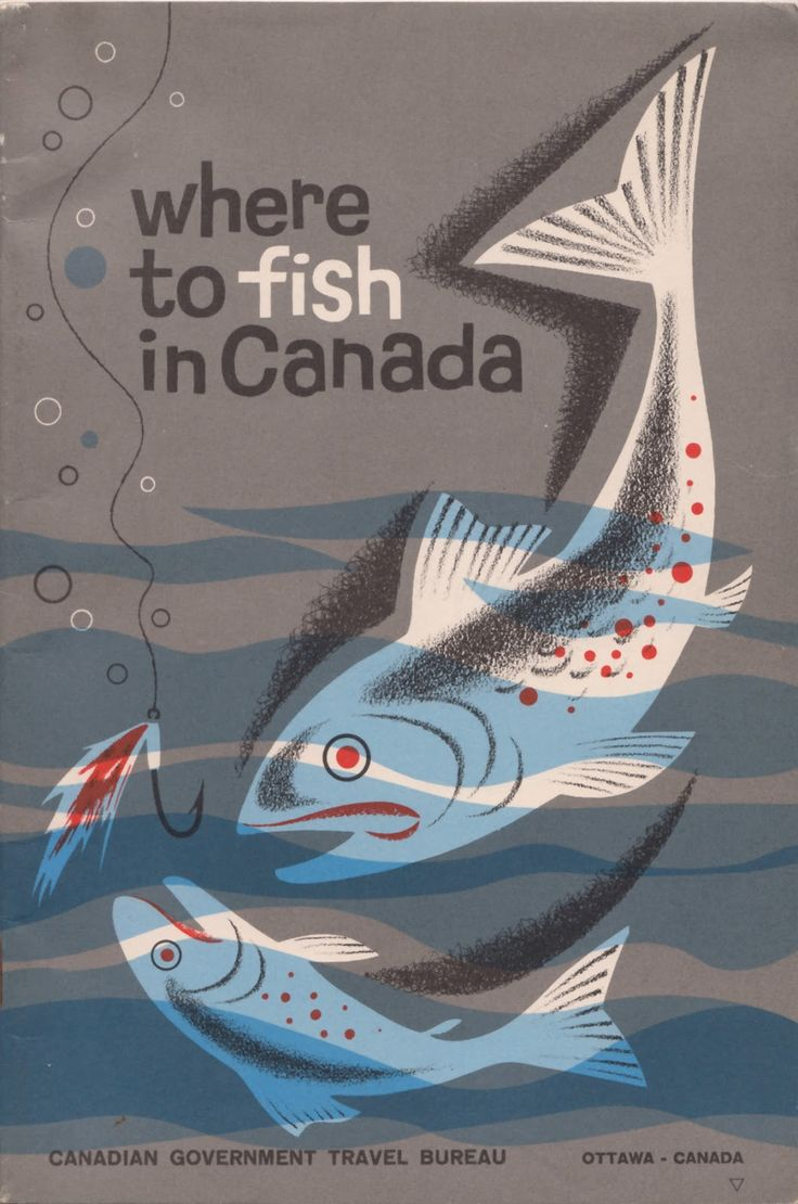 """""""Where to fish in Canada"""" (1963-65), a fishing travel guide commissioned by the Canadian Government Travel Bureau, Ottawa. Designer unknown. via Delicious Industries"""