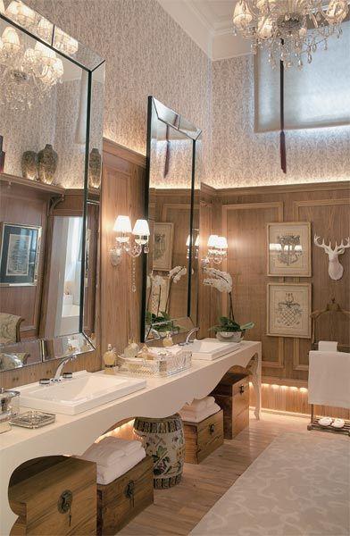 140 ideias para transformar sua casa com papel de parede - Casa  Que tal um banheiro art noveau ? Um luxo , não!