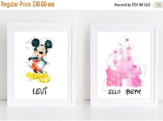 60%OFF custom name watercolor print disney nursery print