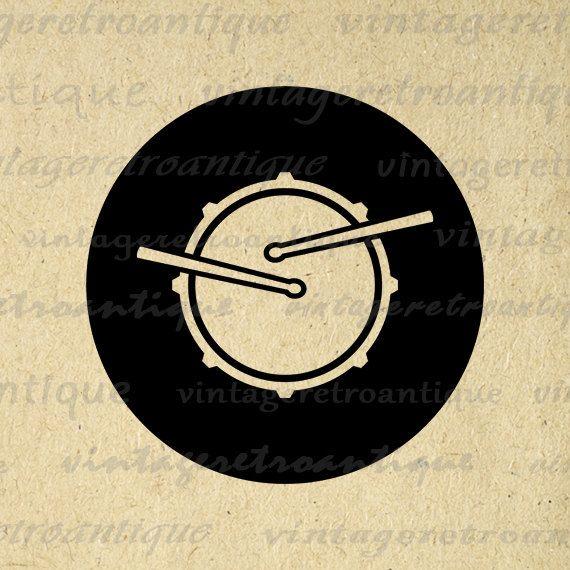 Printable Snare Drum Digital Download Band by VintageRetroAntique