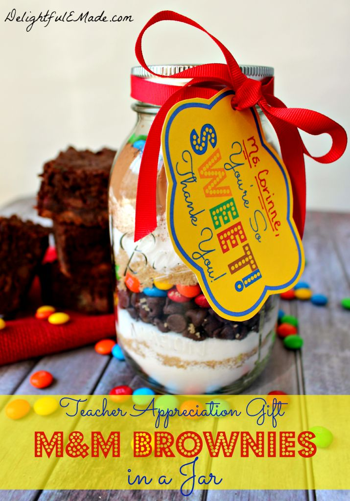 M&M Brownies in a Jar
