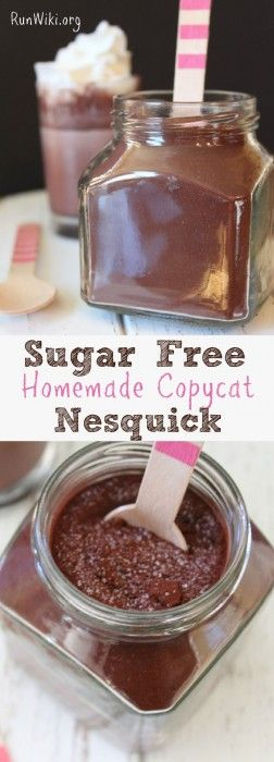 DIY Homemade Sugar free copycat Nesquick- your hot or cold chocolate milk drink recipe will so much healthier by making this version of the store bought. It takes 5 min to make - you will never go back to regular again. See what ingredient I use to make it super rich and chocolatey