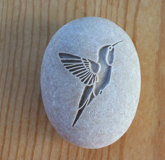 Hummingbird gift Stone talisman - Home decor paperweight