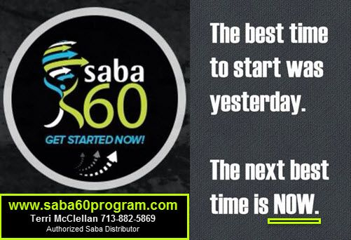I am passionate about the Saba 60 Program with Saba ACE G2 supplements & more! I've learned to eat healthy. I exercise now. I'm ALOT lighter on my feet. I'm out LIVING Life instead of laying around on the couch. (private) Facebook Page has over 5,500 of us all on this healthy journey TOGETHER! Avg weight loss is 23 POUNDS in 60 days.Be Inspired. Be Motivated. Be a part of it! Join us! http://saba60program.com OR call me! Terri McClellan 713.882.5869 #saba60 #sabaaceg2 #weightlosssupport
