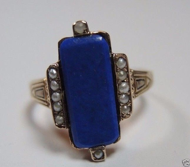 A personal favorite from my Etsy shop https://www.etsy.com/listing/451973674/antique-lapis-lazuli-seed-pearl-yellow