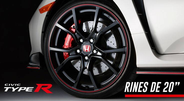 """Su poderío también se nota en los detalles, como los rines deportivos de aluminio de 20"""" con calipers de frenado delantero Brembo de 4 pistones en color rojo. #TypeR"""
