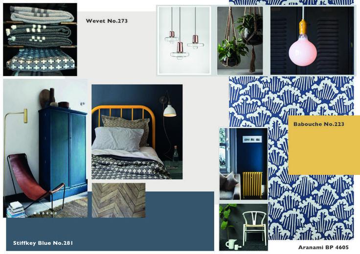 Farrow & Ball- SIOBHAN DOHERTY Mood board (Scandinavian) Wevet, Stiffly Blue, Babouche, Aranami BP