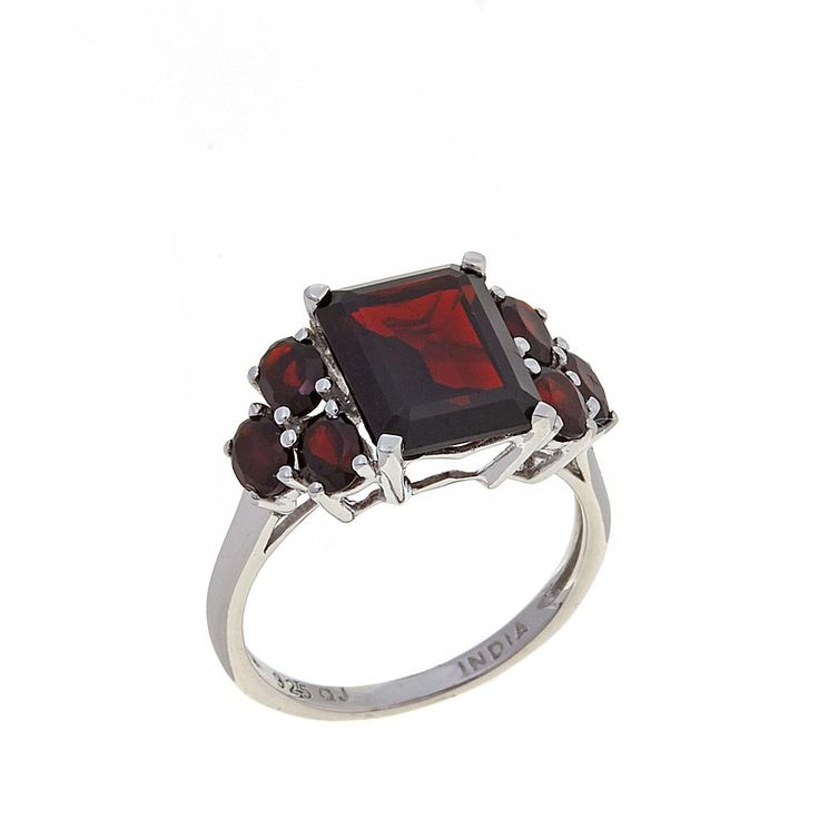 "Colleen Lopez ""Lasting Moments"" 4.84ctw Emerald-Cut Garnet Sterling Silver Ring"