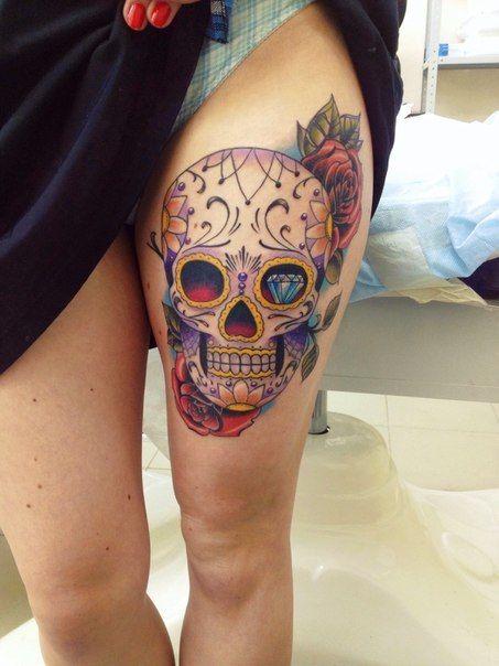 idee tatouage mexican skull new school femme cuisse 453 604 tatoo pinterest. Black Bedroom Furniture Sets. Home Design Ideas