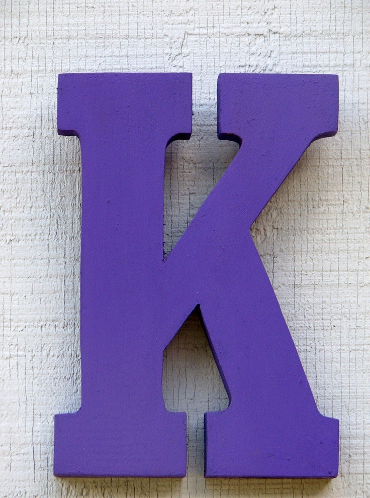 """Baby Room Decor Wooden Letter K 8"""" Tall Rustic Nursery Decor painted Lavender Great Gift. by borlovanwoodworks via Etsy."""