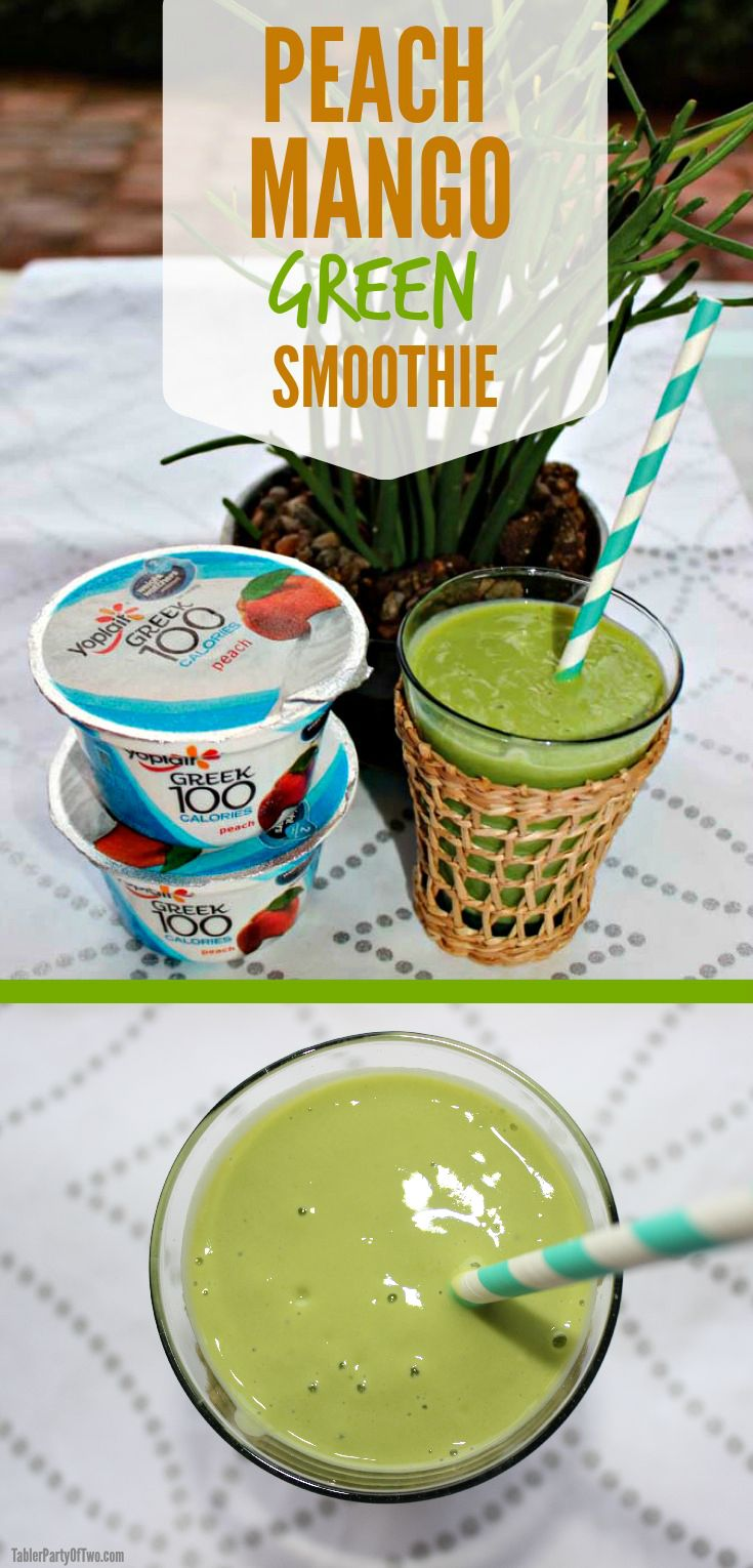 This Peach Mango Green Smoothie is incredibly delicious and SO EASY to make! TablerPartyofTwo.com