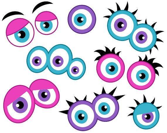 Girly Monster Eyes Digital Clip Art, Cute Monster Eyes, Girlish Monster Faces, Printable Photo Booth Props - Instant Download - YDC140
