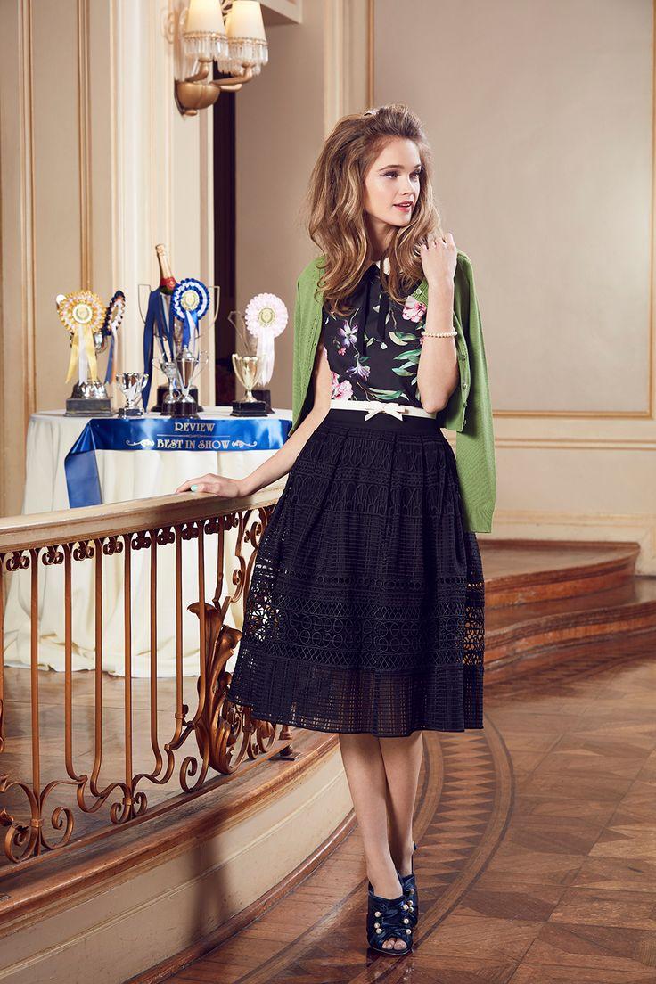Simona Top   Black and Multi   Top  Maggie Long Sleeve Cardi   Pistachio   Cardigan  Russian Romance Skirt   Black   Skirts