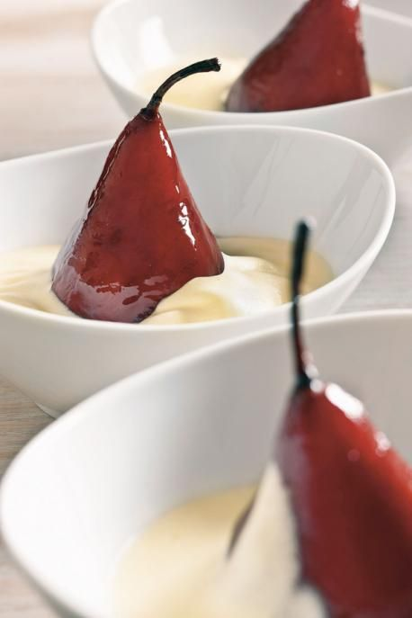 Stanley Tucci's recipe for Poached Pears in Red Wine with Zabaglione