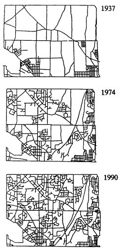 Plans showing transformation from rural community to conventional suburb in Montgomery County Pennsylvania.