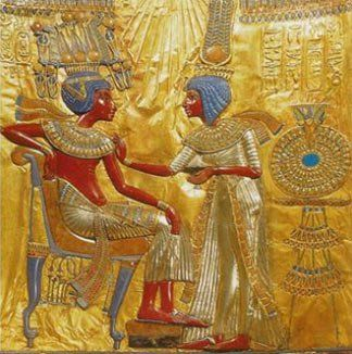 A gold plate found in Tutankhamun's tomb