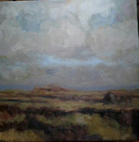 "Bog land in donegal.painted alla prima.14""x14""."