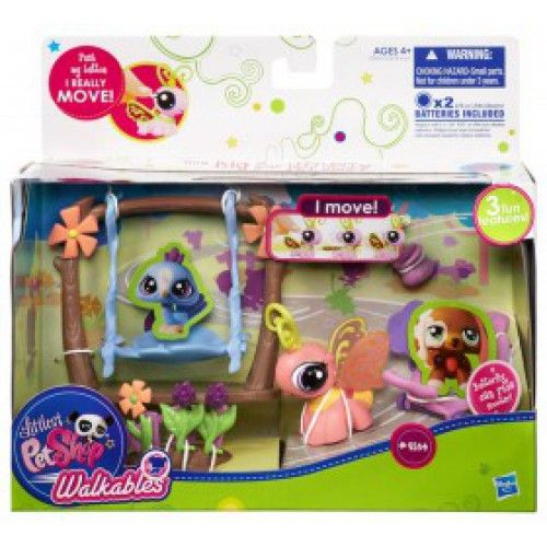 """These special pets can really move!  It's time for a walk with the Littlest Pet Shop Walking Pets Theme Packs.  Each individually packaged figure comes with a lot of personality and a bunch of toys, too!  Figures stand approximately 1 3/4-inches tall. Requires 2x """"LR44"""" batteries (included).  Ages 4 and up."""