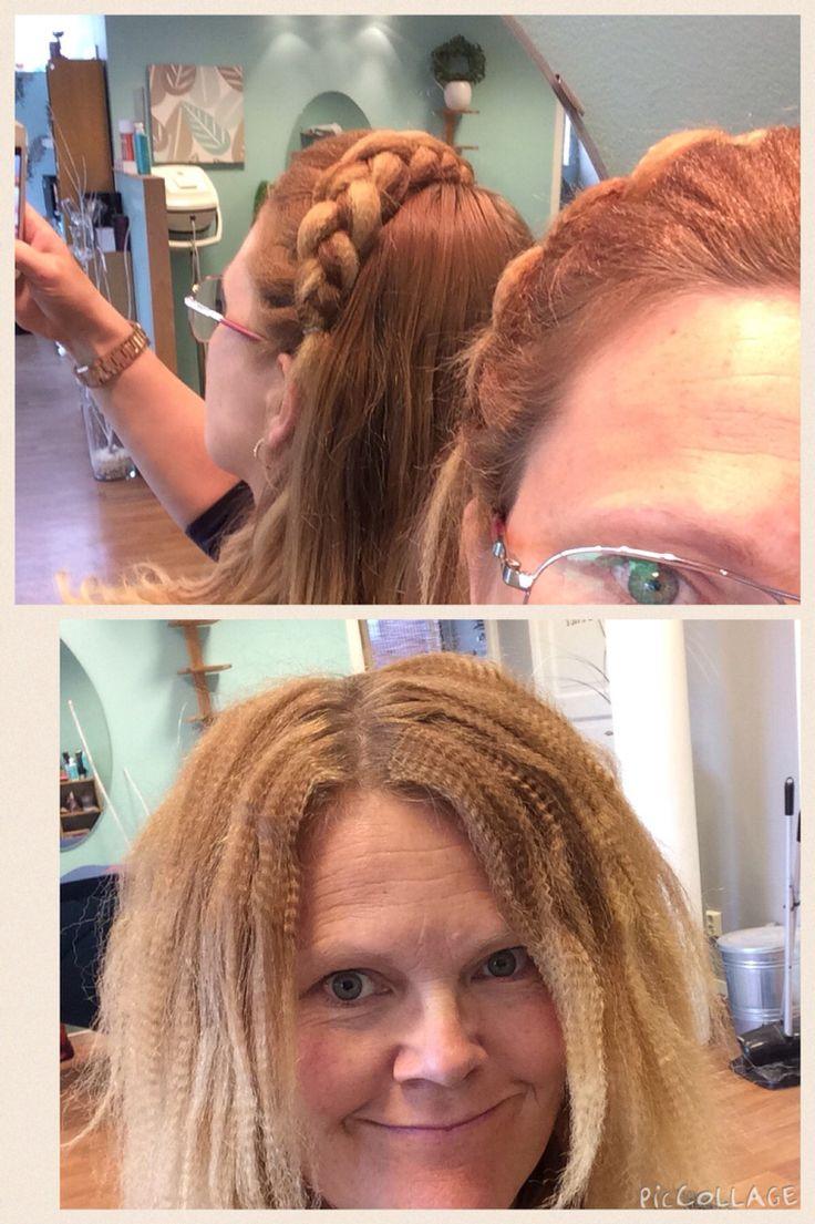 Flätdiadem utav krusat hår.