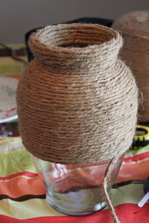 Cover old glass containers with twine. (Maybe this would be a good idea for the bottles in the bottle dance of the show?)