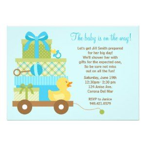 28 best baby shower invitation wording images on pinterest shower duck boy shower invitation with matching envelopes and the wording reads the baby is on filmwisefo Image collections