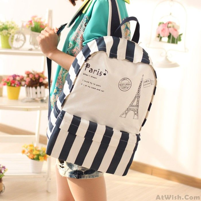 Wow~ Awesome Casual Cartoon Striped Paris Tower College Backpacks! It only $35.99 at www.AtWish.com! I like it so much<3<3!