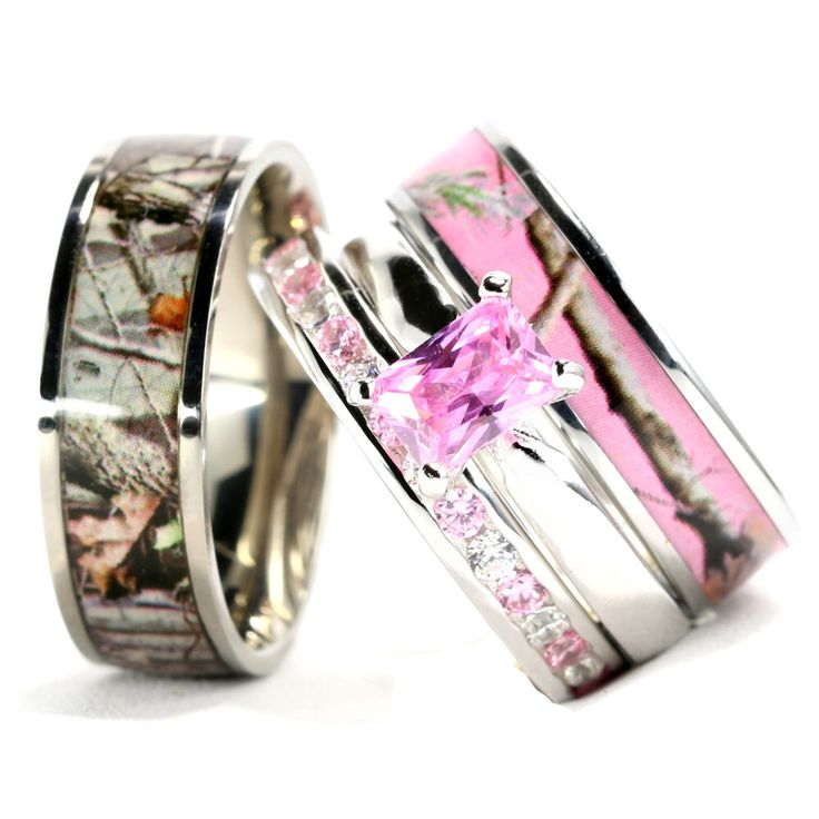 His and Her's Camo Pink Radiant Stainless Steel Sterling Silver Wedding/ Engagement Ring 4pc Set by KingswayJewelry on Etsy https://www.etsy.com/listing/287293269/his-and-hers-camo-pink-radiant-stainless