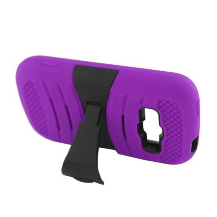 Insten Purple/ Soft Silicone/ PC Case Cover For Samsung Galaxy Prevail 2 Boost Mobile/ Ring SPH-M840