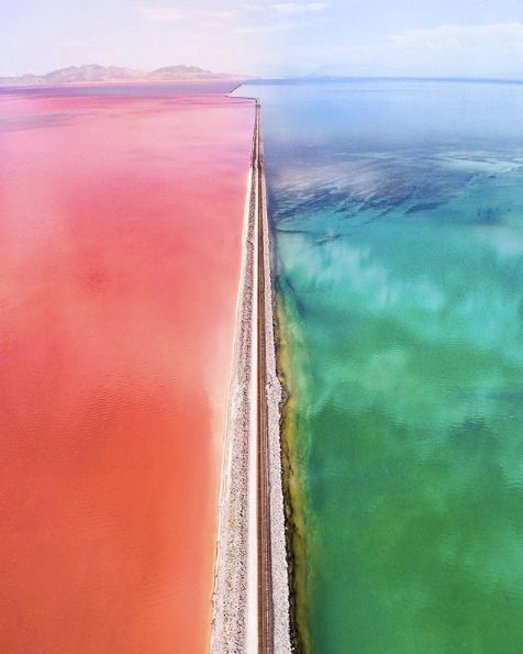"(@somewheremagazine)  : ""Utah's Great Salt Lake. On the left of the railroad the lake has turned pink due to brine shrimp…"""