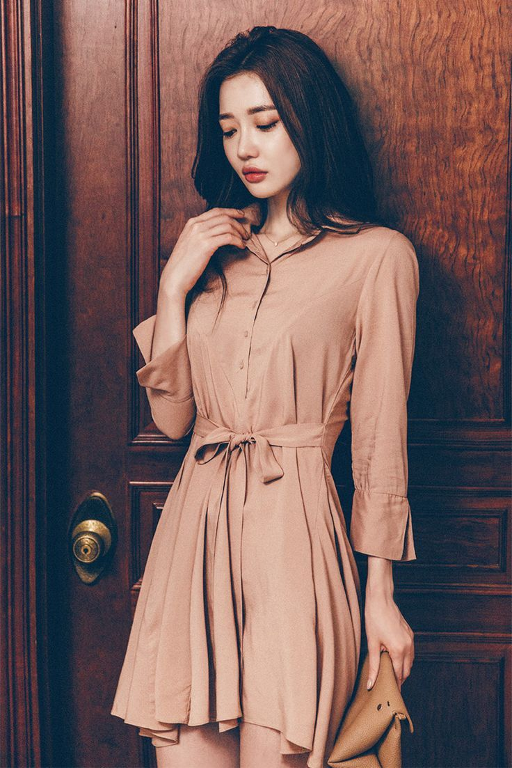 Ribbon Tie Waist Shirt Dress