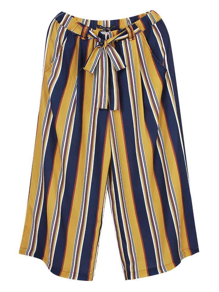 Casual Women Belt Stripe Stretch Waist Wide Leg Cropped Trousers Pants