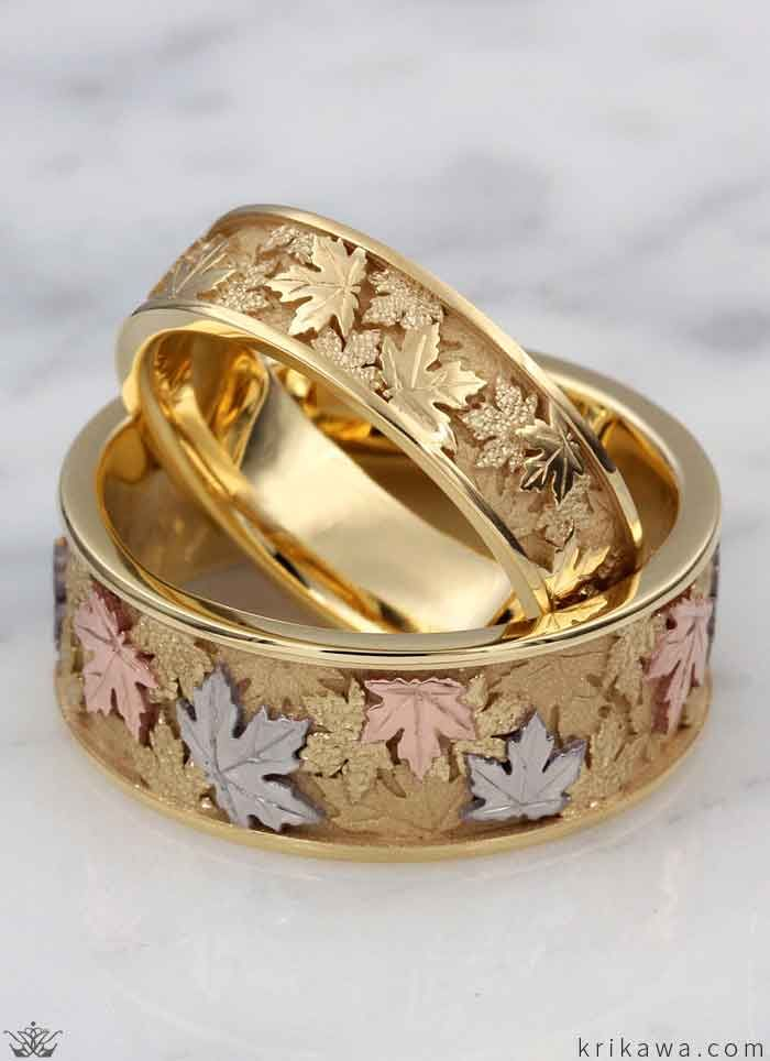 Leaf And Vine Wedding Rings Couple Wedding Rings Leaf Wedding Band Wedding Ring Models