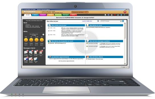 Nouvelle interface pour notre logiciel de transactions immobilières en mode ASP. Ergonomique, fluide, colorée et simple d'utilisation ! Laissez-vous tenter !  Contact au 01 47 66 28 80 ou par mail contact@elephantbird.fr