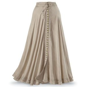 Button Front Maxi Skirt: Exclusive! Polish & Poise. Versatile. Comfortable. Elegant! This winsome, beige maxi skirt drapes from a drawstring waist, trimmed with lovely embroidery on either side of the front buttons. (Wear buttoned or unbuttoned from the hem to create a kicky, front slit!) 100% rayon. Machine washable.