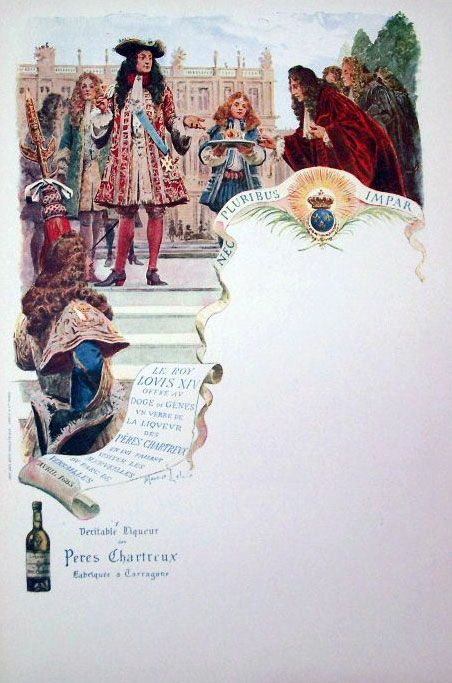 Le roi Louis XIV offre au doge de Gênes un verre de liqueur des Pères Chartreux
