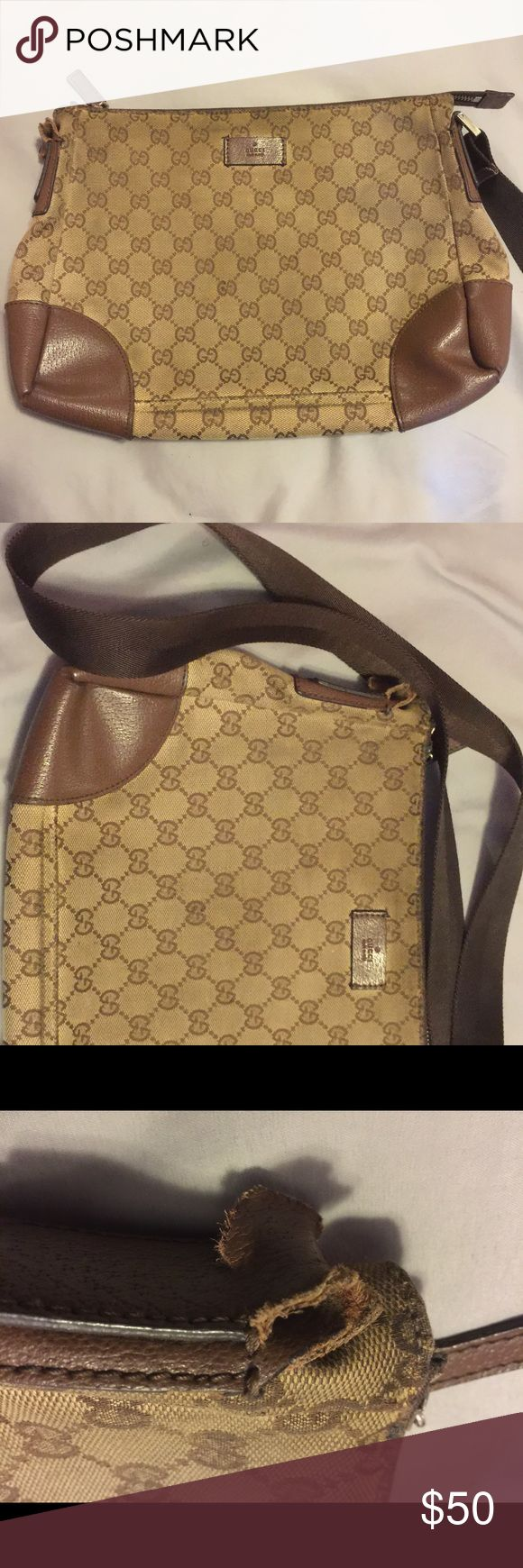 Authentic Gucci Messenger Bag PLEASE look at photos and read description carefully.  This is an authentic Gucci messenger bag that has plenty of life left but has a broken strap. The is some wear on the exterior of the bag (see photos) the interior is in excellent condition. This is not a perfect piece but can definitely be restored to great condition. Gucci Bags Crossbody Bags