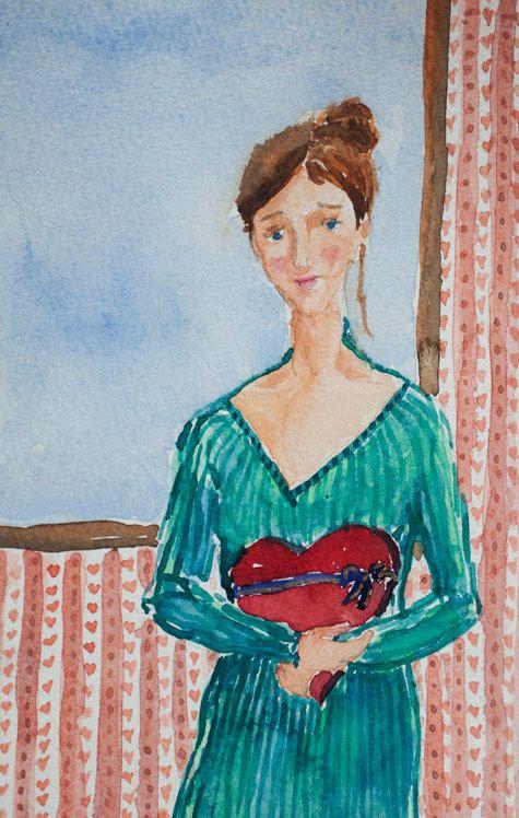 Love painting watercolour art OOAK romantic art by TremblingRhymes