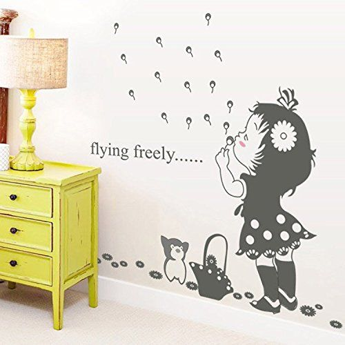 ELove Blow Bubbles Girl Removable Mural Wall Stickers Wall Decal for Kids Nursery Room Wall Decor *** See this great product. (Note:Amazon affiliate link)