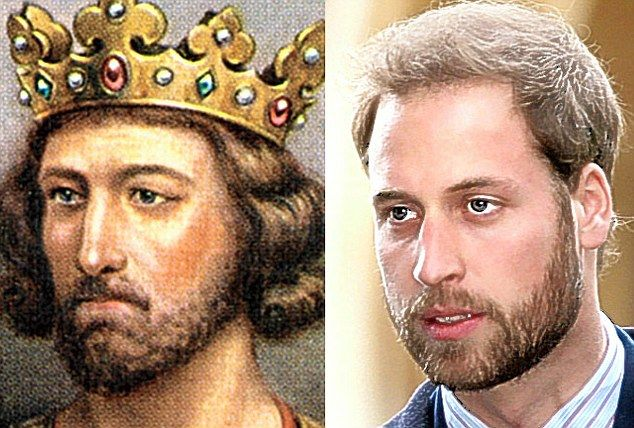 Royal we: King Edward I (1239-1307) and Prince William, his 21 times great-grandson, share the same eyes and nose