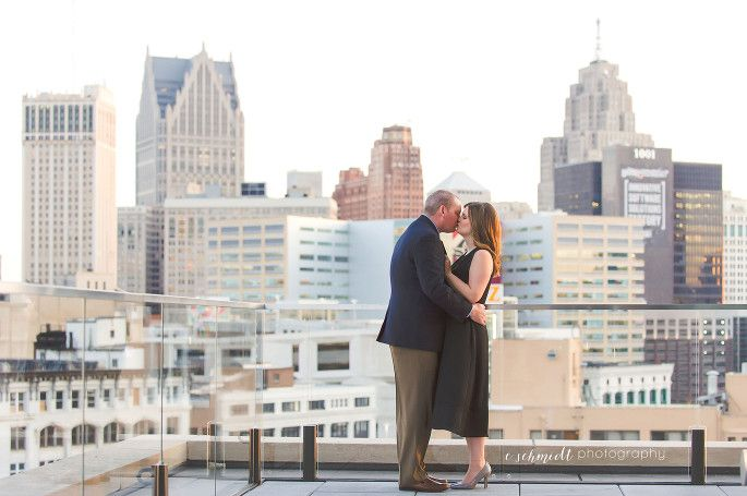 Detroit engagement photo | Rooftop detroit engagement | E Schmidt Photography | Detroit Athletic Club Wedding Photographer