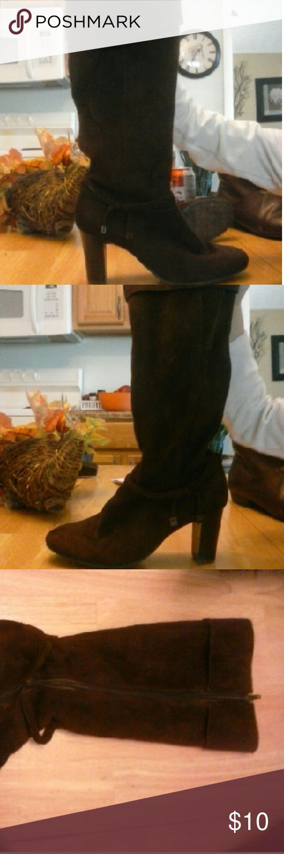Heeled Brown boots Zip up on side Brown heeled boots.   Velvet feel Shoes Over the Knee Boots