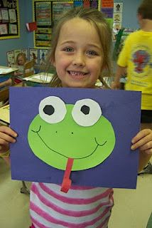 Frogs - Week 1   Very easy frog face. Five pieces children can glue by themselves. I would suggest making the eyes one piece, so the gluing and frustration is minimal.
