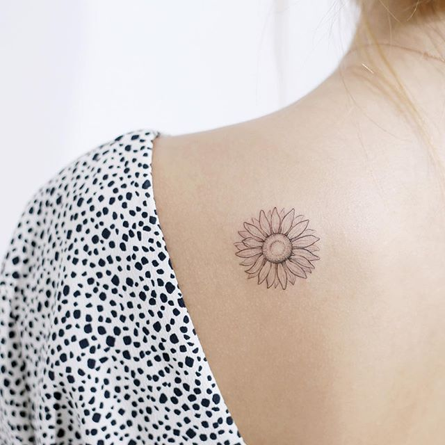 Sun sunflower flower tattoo small