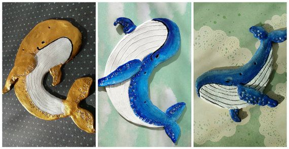 whale wall ornament golden blue clay by Kats13stuff on Etsy