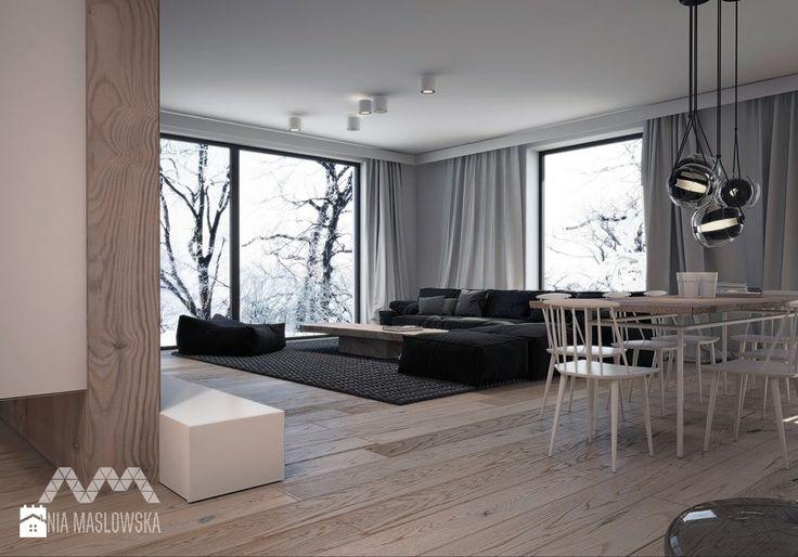 Dom nad Wkrą - Duży salon z jadalnią, styl skandynawski - zdjęcie od Ania Masłowska